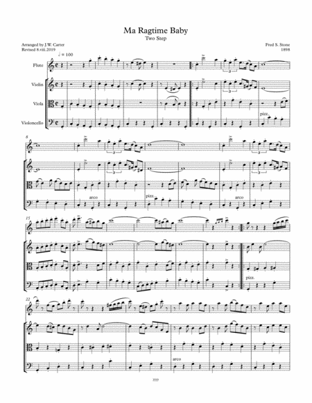 Freds Stone Ma Ragtime Baby Two Step 1898 Arranged For Flute String Trio