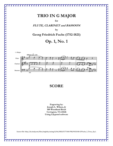 Fuchs Trio No 1 In G Major For Flute Clarinet And Bassoon