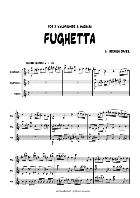Fughetta By Stephen Davies For 2 Xylophones Marimba