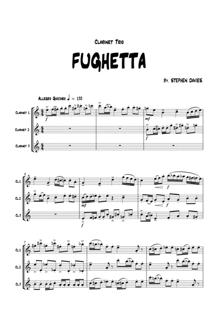 Fughetta By Stephen Davies For Clarinet Trio