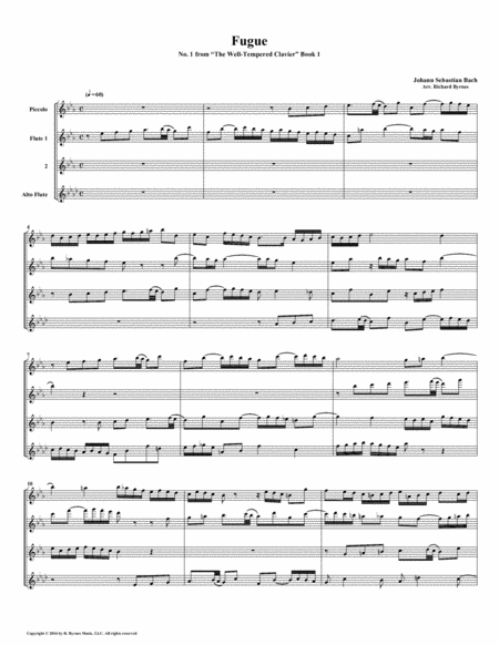 Fugue 01 From Well Tempered Clavier Book 1 Flute Quartet