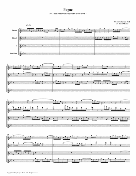 Fugue 07 From Well Tempered Clavier Book 1 Flute Quartet