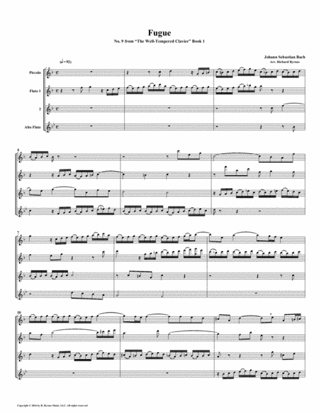 Fugue 09 From Well Tempered Clavier Book 1 Flute Quartet