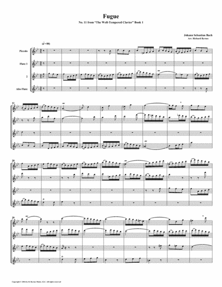 Fugue 11 From Well Tempered Clavier Book 1 Flute Quartet