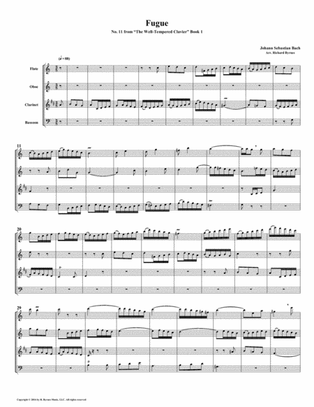 Fugue 11 From Well Tempered Clavier Book 1 Woodwind Quartet