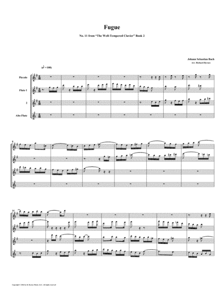Fugue 11 From Well Tempered Clavier Book 2 Flute Quartet