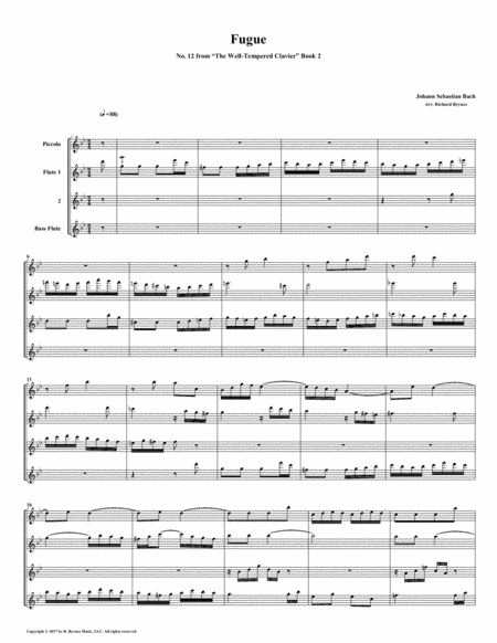 Fugue 12 From Well Tempered Clavier Book 2 Flute Quartet