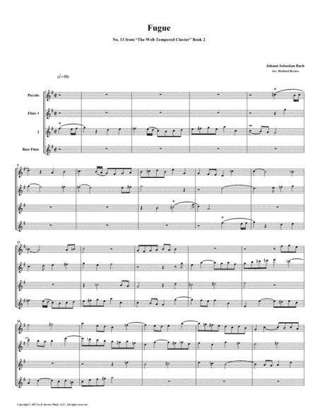 Fugue 13 From Well Tempered Clavier Book 2 Flute Quartet