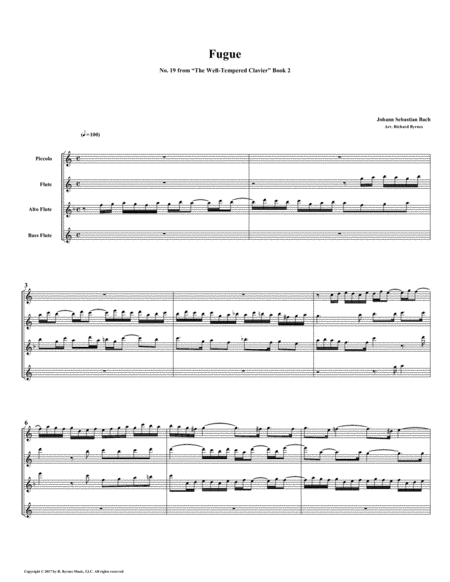 Fugue 19 From Well Tempered Clavier Book 2 Flute Quartet