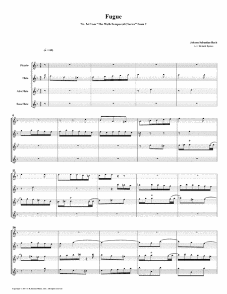 Fugue 24 From Well Tempered Clavier Book 2 Flute Quartet