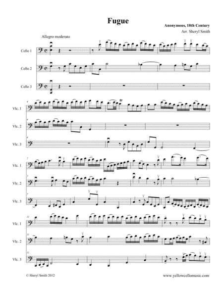 Fugue A Baroque Piece Arranged For Three Intermediate Cellos