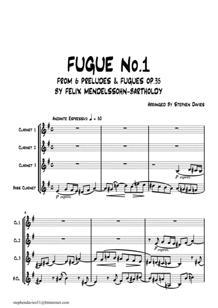 Fugue No 1 From 6 Preludes Fugues Op 35 By Felix Mendelssohn Bartholdy For Clarinet Quartet