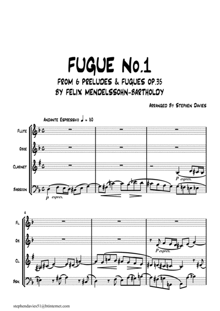 Fugue No 1 From 6 Preludes Fugues Op 35 By Felix Mendelssohn Bartholdy For Woodwind Quartet