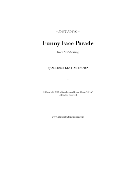 Funny Face Parade Easy Piano Solo By Allison Leyton Brown