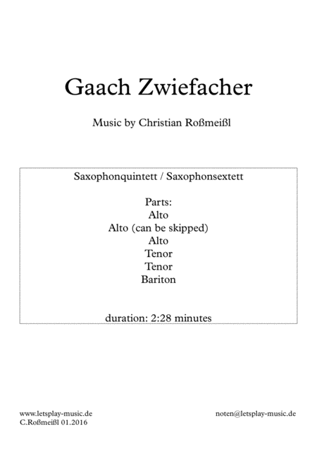 Gaach Zwiefacher For Saxophonensemble