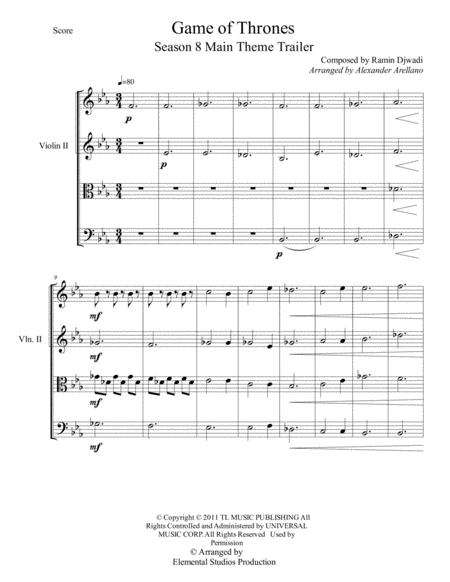 Game Of Thrones For String Trio Free Music Sheet Musicsheets Org