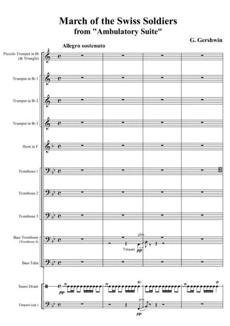 G Gershwin March Of The Swiss Soldiers From Ambulatory Suite Arr For Brass Ensemble