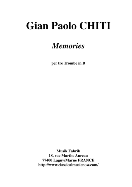 Gian Paolo Chiti Memories For Three Bb Trumpets