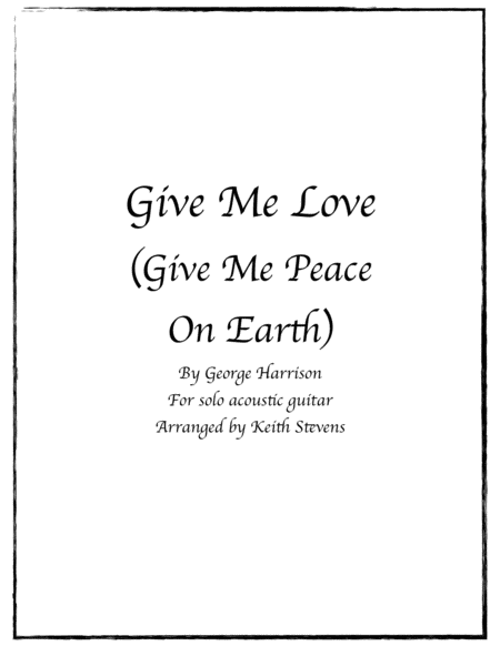 Give Me Love Give Me Peace On Earth
