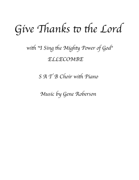 Give Thanks To The Lord Satb