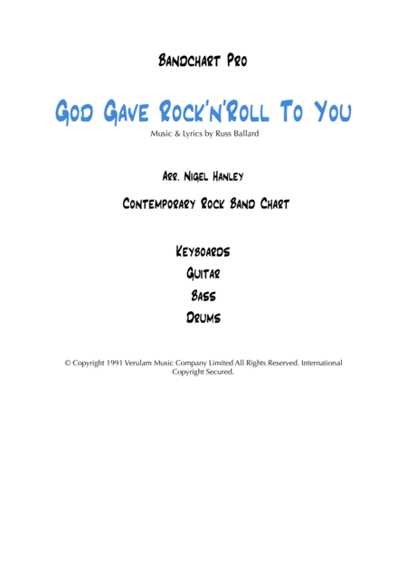 God Gave Rock N Roll To You 4pc Rock Band Chart