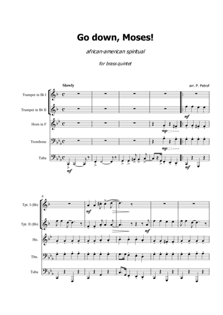 Go Down Moses African American Spiritual For Brass Quintet Score And Parts