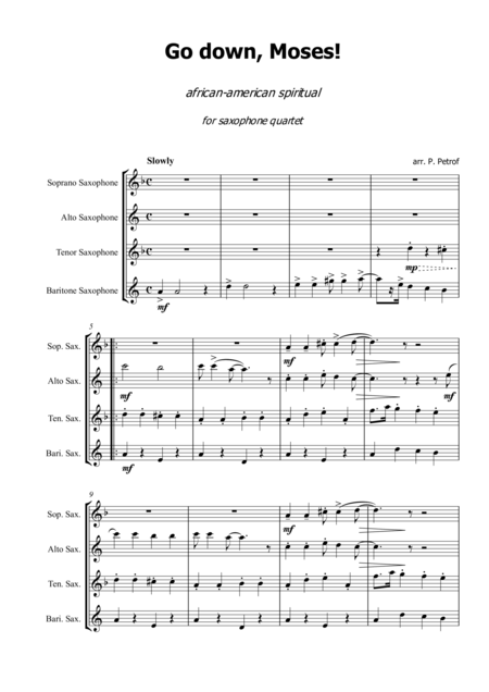 Go Down Moses African American Spiritual For Saxophone Quartet Score And Parts