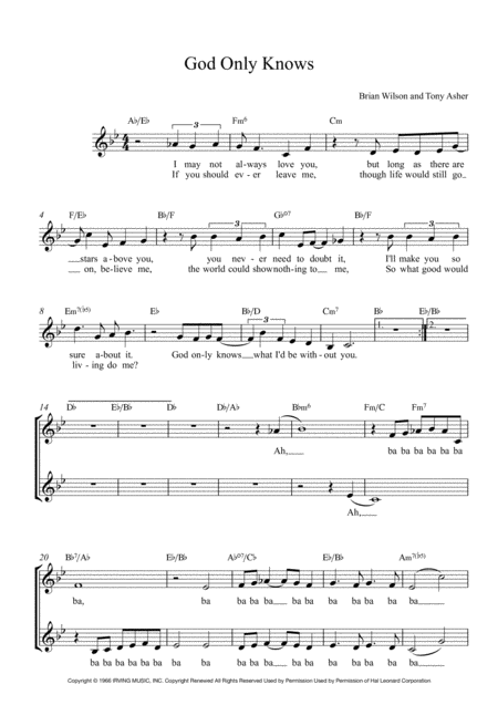 God Only Knows Lead Sheet For Singalongs