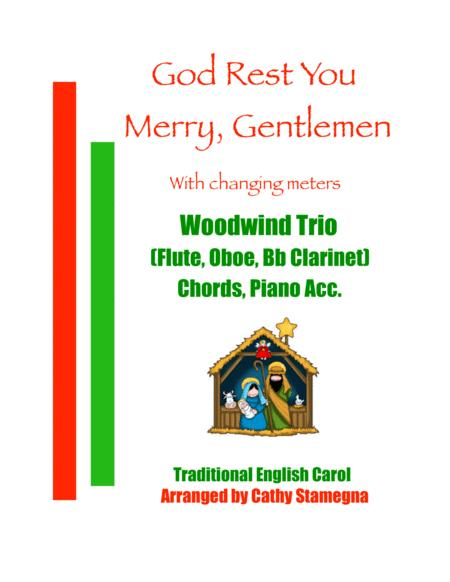 God Rest You Merry Gentlemen Woodwind Trio Flute Oboe Bb Clarinet Chords Piano Acc
