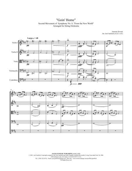 Goin Home 2nd Movement New World Symphony Complete Arranged For String Orchestra
