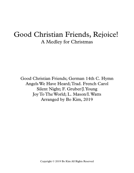 Good Christian Friends Rejoice Medley Of Carols