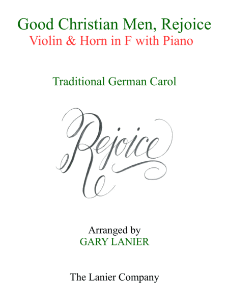 Good Christian Men Rejoice Violin Horn In F With Piano Score Parts