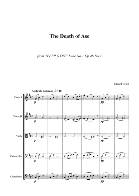 Grieg The Death Of Ase String Orchestra Score And Parts