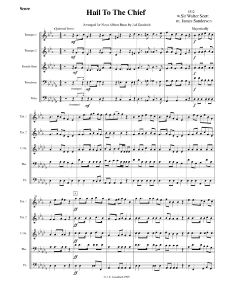 Hail To The Chief Brass Quintet Arrangement Score And Parts