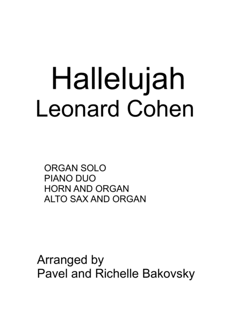 Hallelujah By Leonard Cohen For Various Instruments