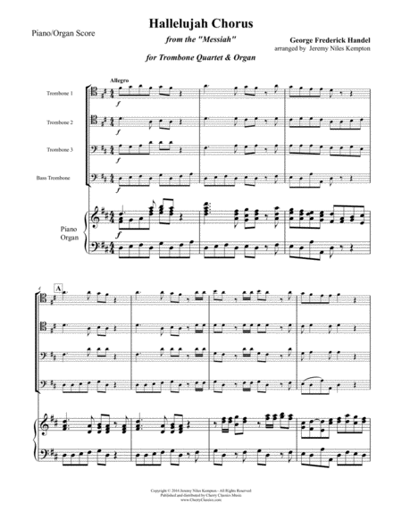 Hallelujah Chorus For Trombone Quartet Organ Or Piano