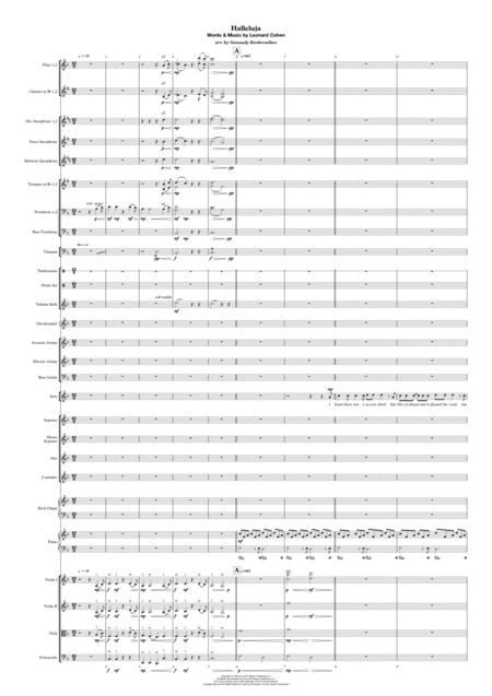 Hallelujah Score And Parts For Full Orchestra Soloist And Choir
