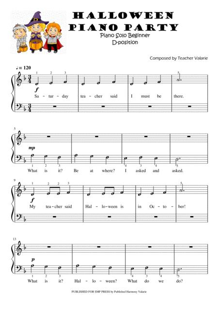 Halloween Piano Party Piano Solo For Beginners 5 Finger Position On D