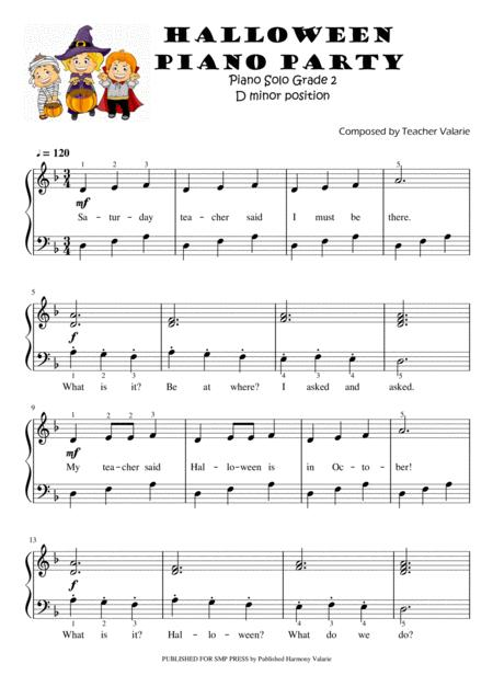 Halloween Piano Party Piano Solo For Grade 2 5 Finger Position On D