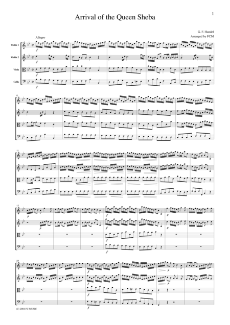 Handel Arrival Of The Queen Sheba For String Quartet Ch102