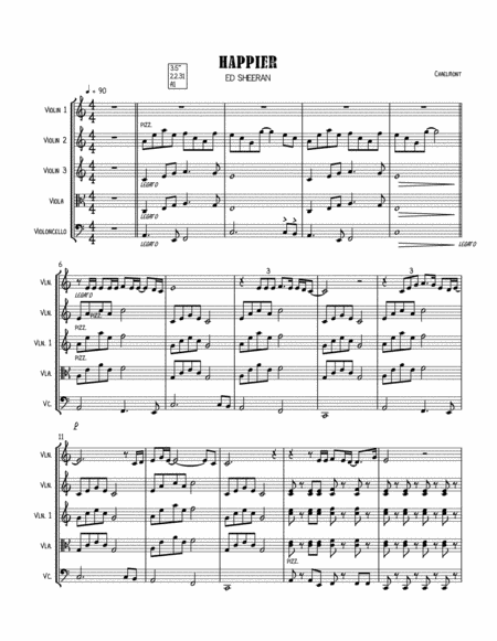 Happier By Ed Sheeran String Quartet Score And Parts