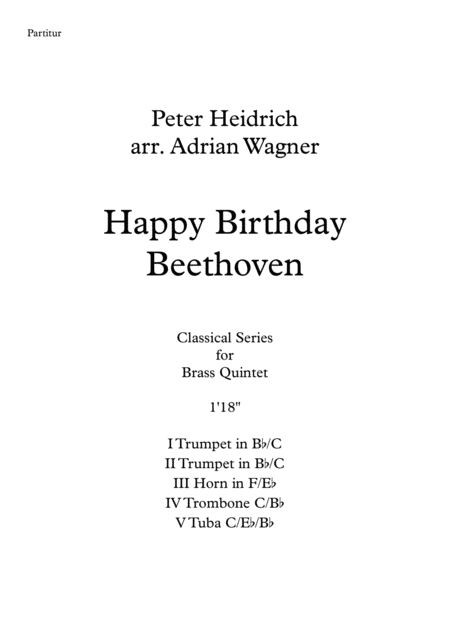 Happy Birthday Beethoven Brass Quintet Arr Adrian Wagner