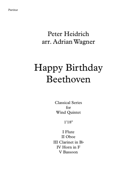Happy Birthday Beethoven Wind Quintet Arr Adrian Wagner