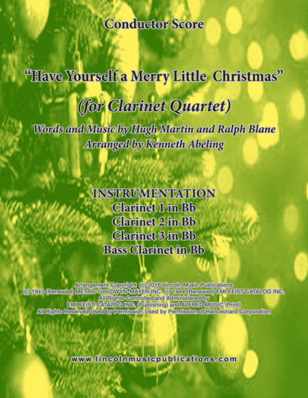 Have Yourself A Merry Little Christmas For Clarinet Quartet Concert Eb