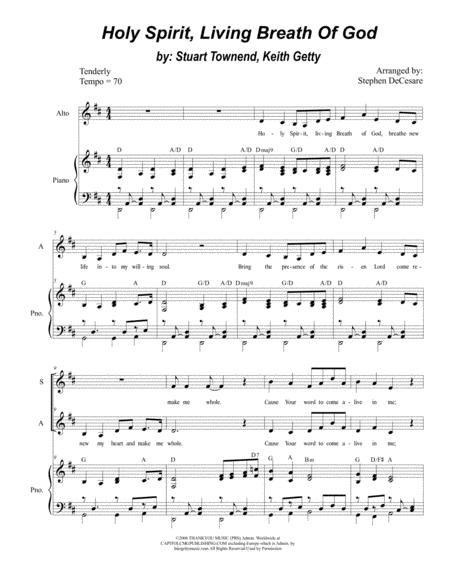 Holy Spirit Living Breath Of God Duet For Soprano And Alto Solo
