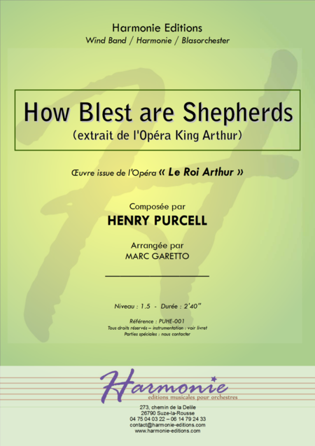 How Blest Are Shepherds From King Arthur For Concert Band