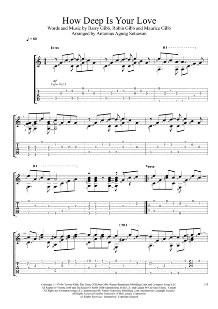 How Deep Is Your Love From The Motion Picture Saturday Night Fever Solo Guitar Tablature