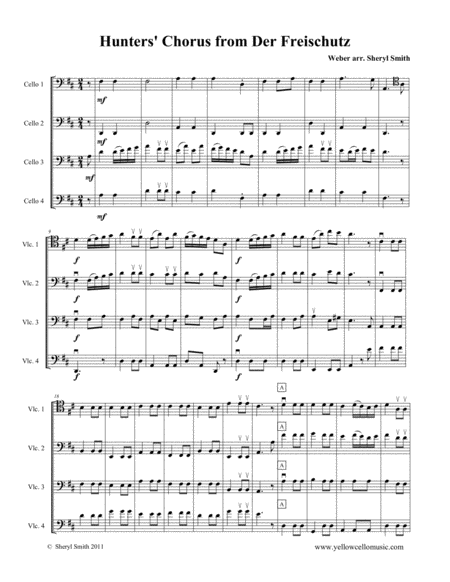 Hunters Chor Us From Der Freischutz Arranged For Intermediate Cello Quartet Four Cellos