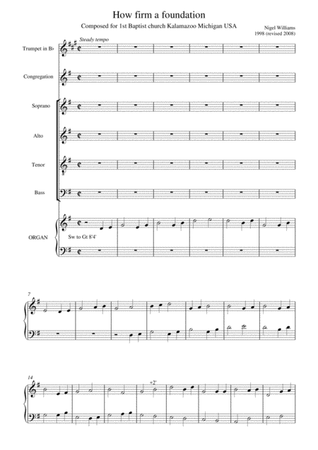 Hymn Concertato How Firm A Foundation For Choir Trumpet In Bb And Organ