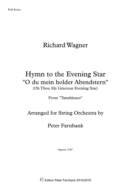 Hymn To The Evening Star From Tannhauser
